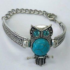 Jewelry - Turquoise Owl Blue Rhinestone Eyes Bracelet
